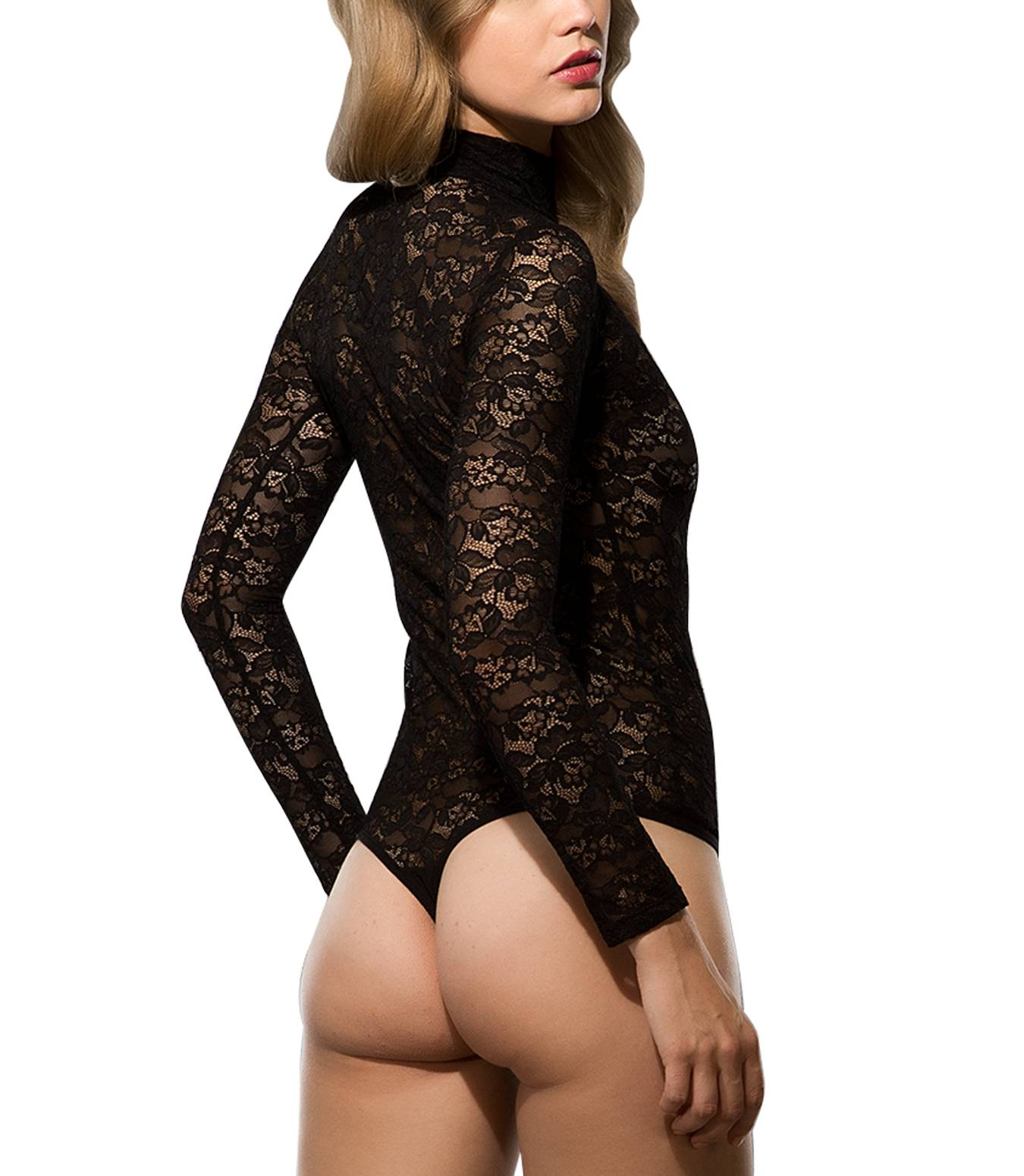 Damen Stringbody Spitzenbody Tüllbody Body Florale Spitze Bodysuit Lace S-XL